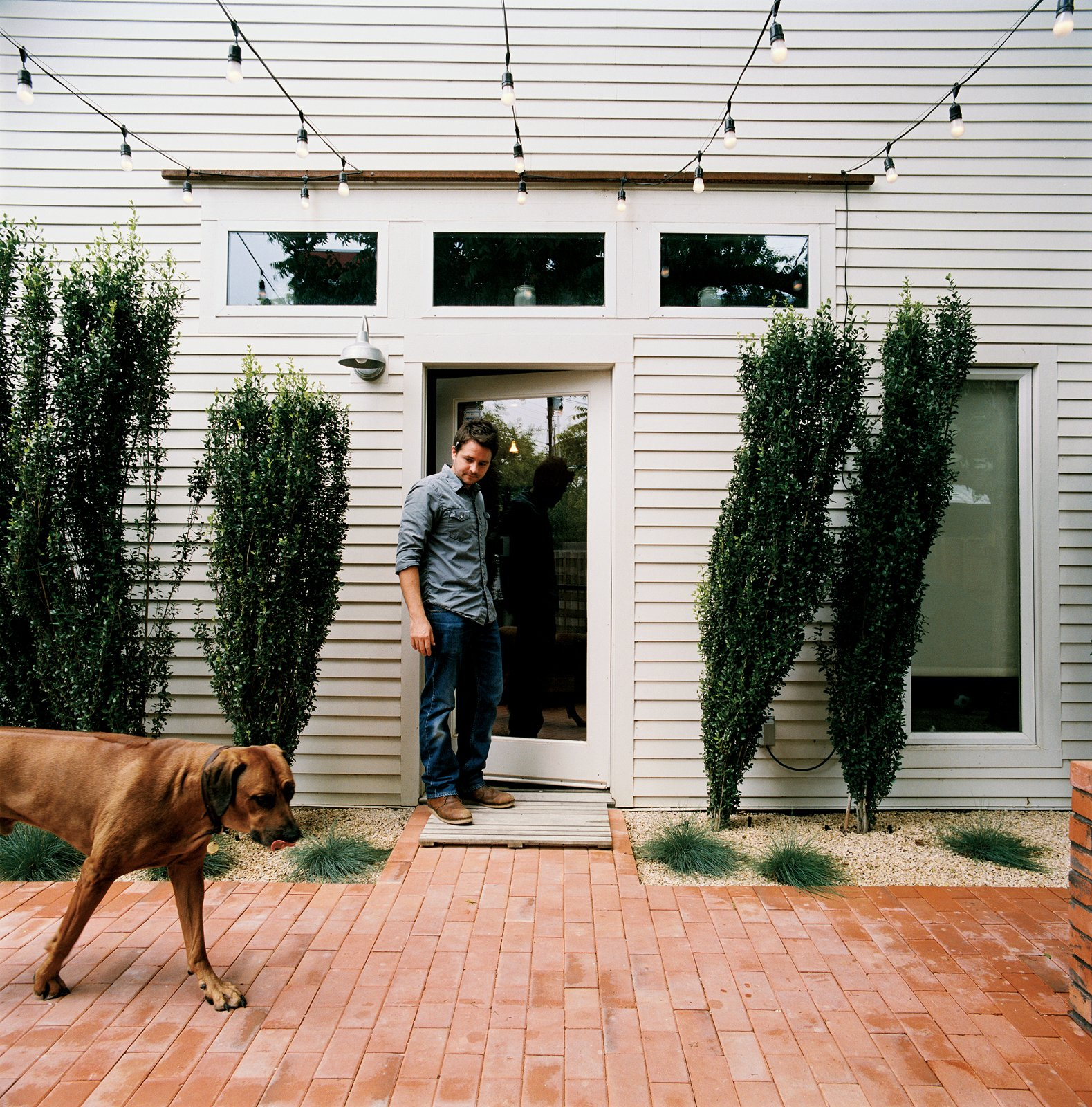 Outdoor, Back Yard, Trees, Shrubs, Pavers Patio, Porch, Deck, and Hanging Lighting From the side door of his restored two-bedroom bungalow, Dollahite watches his   dog West inspect the newly installed low-maintenance landscaping and brick patio.  Photo 8 of 25 in Leap Into the Year of the Dog With These 25 Pups in the Modern World from Salvage Love