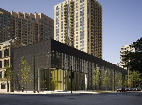 Poetry Foundation  Completed in 2011, the new headquarters for the Poetry Foundation, designed by Chicago's John Ronan Architects, features grids of zinc, glass, and wood that encase the organization's new home and frame the courtyard garden, delineating a peaceful urban retreat and creating a bridge between the interior and exterior.