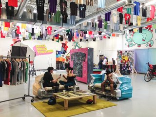 Threadless Warehouse & Headquarters  As befitting the design-focused company, which elevated T-shirt art by building an online community that seemed to print cotton tees and cash in equal measure, Threadless calls this colorful warehouse home, which features art from locals such as Don't Fret.
