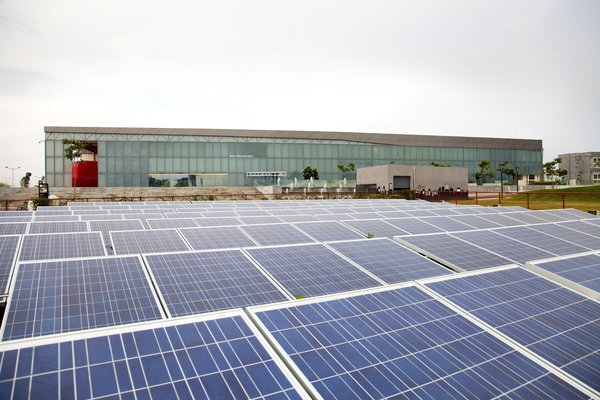 An expanse of solar panels powers the building, which was designed to be easily deconstructed and moved in a few years' time.  My Photos from A Modern Town Hall in Bangalore