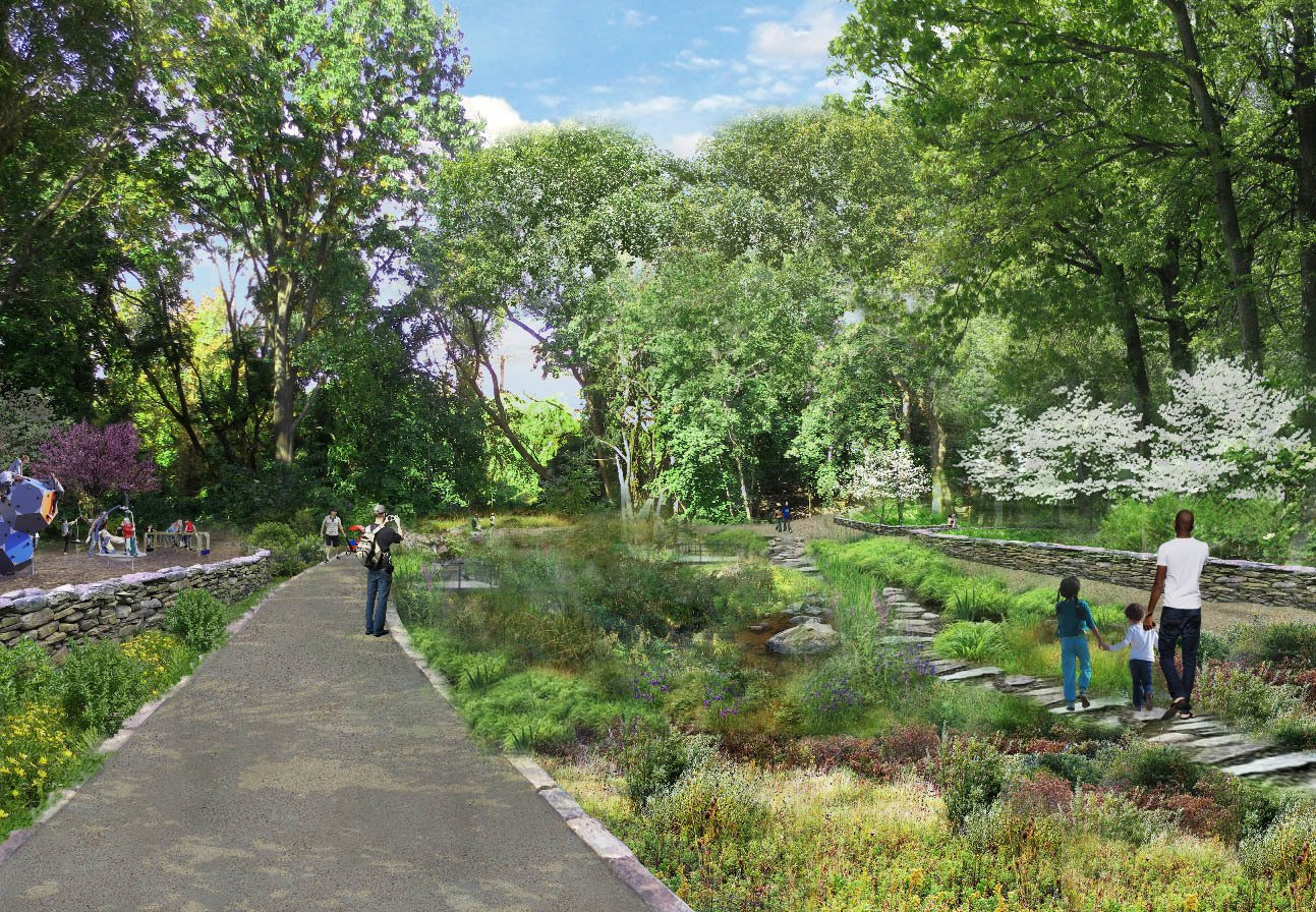 Plans for the QueensWay call for turning an inaccessible area at its northern end into a small park featuring a playground and rain gardens to reduce flooding in heavy rain.  Photo 1 of 6 in A Vision for Queens' Version of the High Line