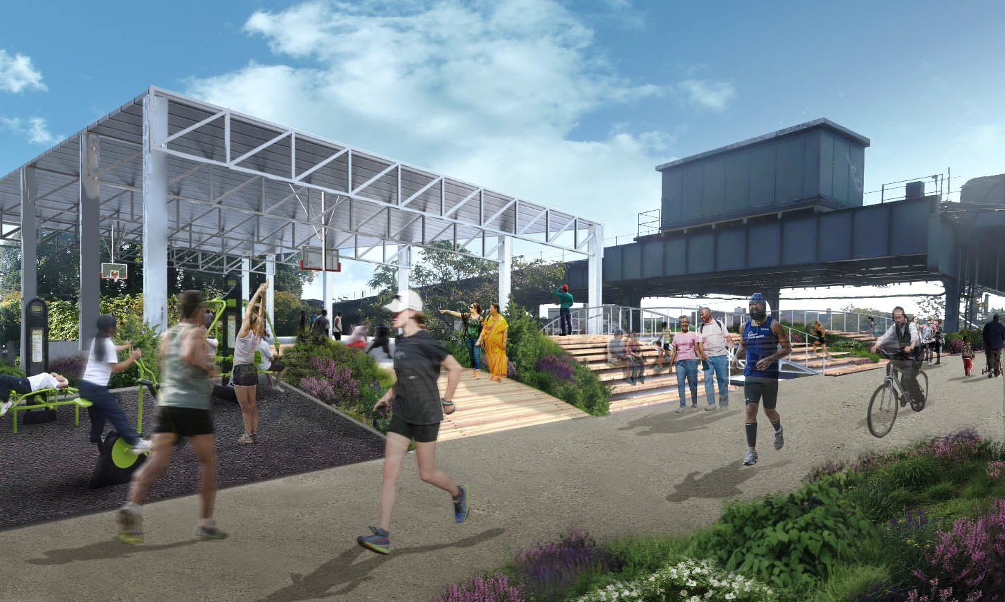 Recreation areas would be added atop the QueensWay's elevated section, while pathways would connect commuters to the A subway line.  Photo 2 of 6 in A Vision for Queens' Version of the High Line