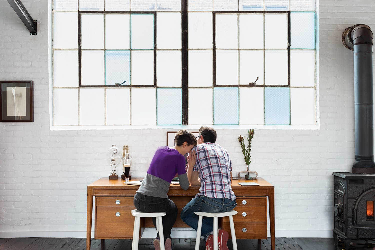 Office and Desk Brandon and Amy set up different workstations in the living area.  Best Photos from A Design Duo Takes Over A Whole Factory