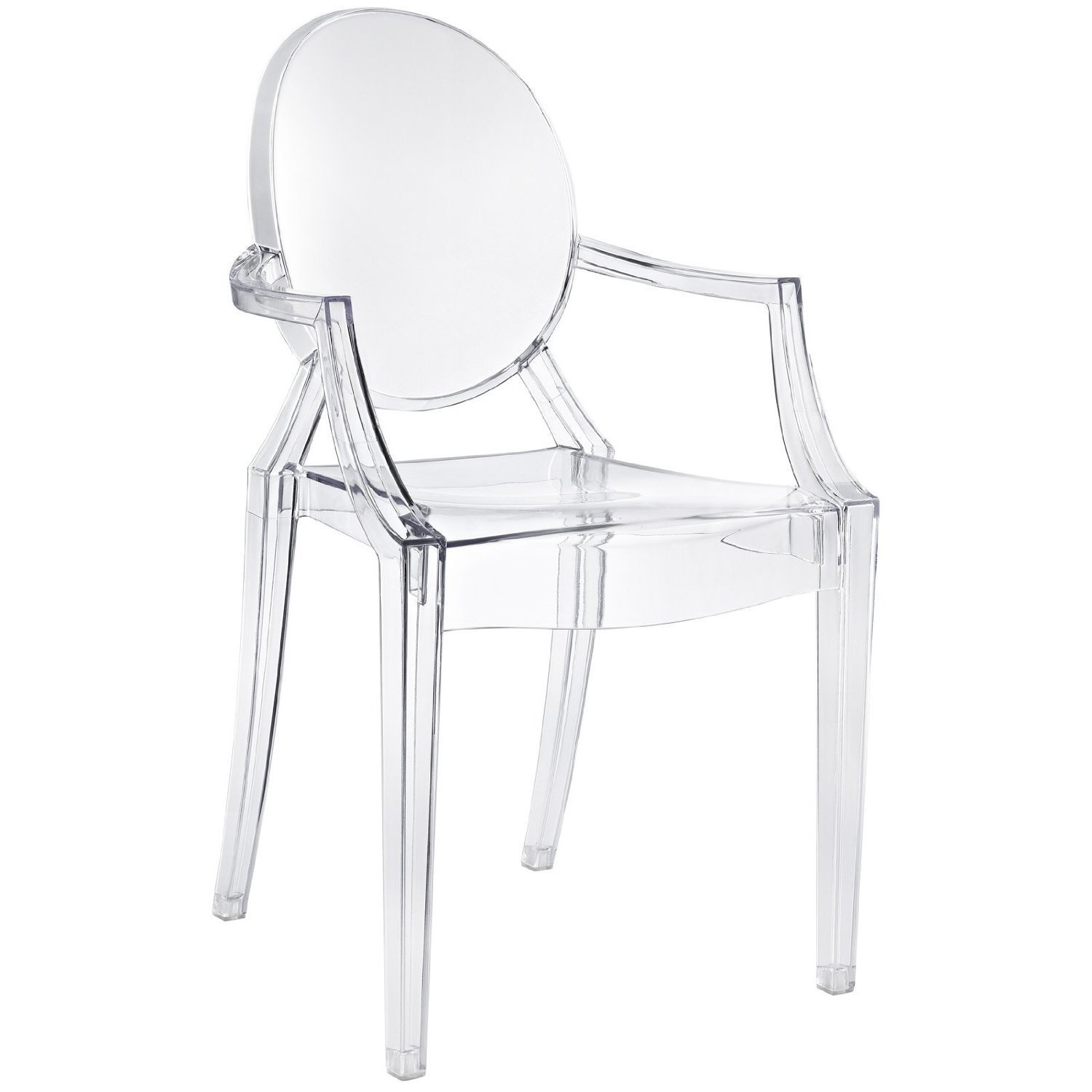 Louis Ghost Chair -- Kartell (2002)  This iconic seat shows Starck playing with form and material, recasting the royal Louis XV chair concept with translucent, injection-molded polycarbonate. More than a million of these chairs have been sold.  Iconic Philippe Starck Designs  by Patrick Sisson