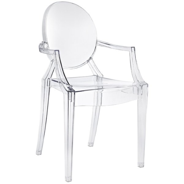 Louis Ghost Chair -- Kartell (2002)  This iconic seat shows Starck playing with form and material, recasting the royal Louis XV chair concept with translucent, injection-molded polycarbonate. More than a million of these chairs have been sold.