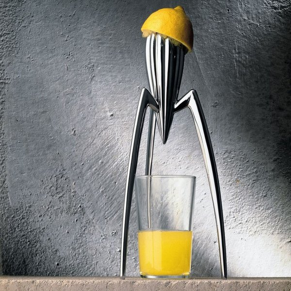"Juicy Salif Lemon Squeezer -- Alessi (1990)  Likely the only juicer displayed at MOMA, Starck's aluminum tripod design could be mistaken for a streamlined alien invader from a '50s pulp comic. He's rumored to have said: ""It's not meant to squeeze lemons, it is meant to start conversations."""