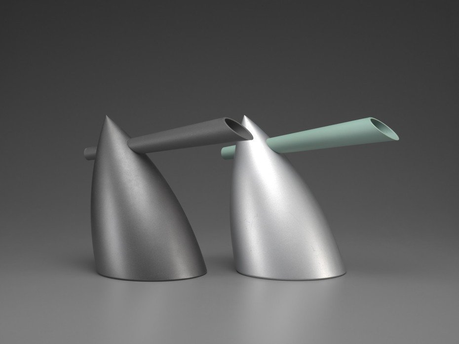 Hot Bertaa Kettle -- Alessi (1987)  Presenting a bold, contemporary spin on a cup of tea, this kettle exudes Italian style, less a kitchen object that emits a hiss of steam than some Art Deco bullhorn brashly announcing its presence.  Iconic Philippe Starck Designs  by Patrick Sisson