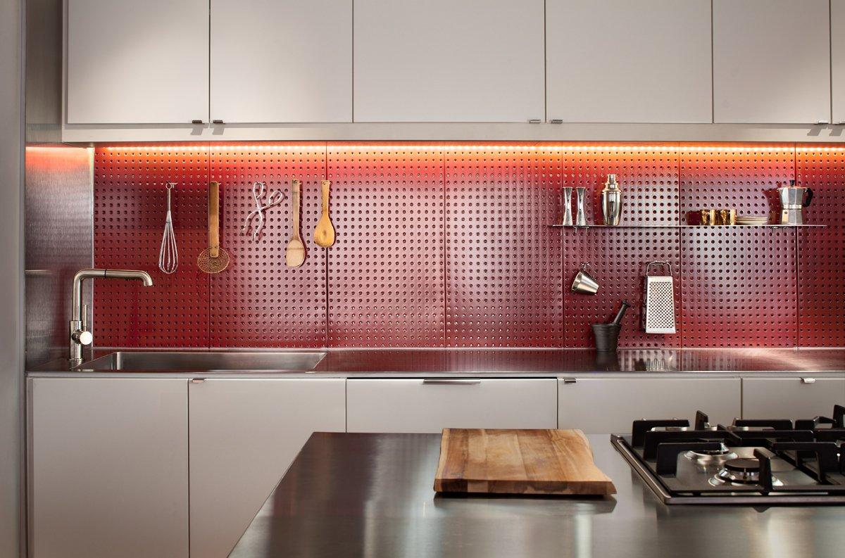 Clever Red Pegboard Backsplash In A Remodeled Kitchen