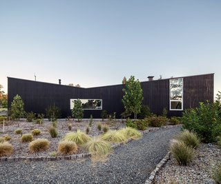 A Chilean home's dramatic stained-pine exterior references local vernacular architecture.