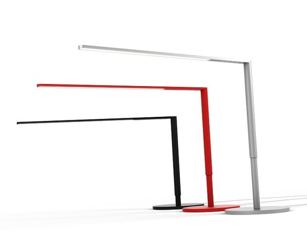 Lady7 Desk Lamp by Koncept  This barely there telescoping lamp illuminates without intruding, a razor-thin right angle underscoring the utility of LED lights. The base includes a USB port for added functionality.   Photo by Koncept