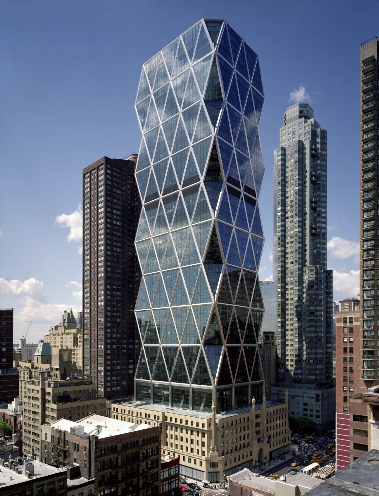 The Hearst Tower in Manhattan, designed by Foster + Partners.   Photo 2 of 6 in Can Empty Offices and Hotels Help Alleviate the Housing Crisis? from New Exhibition: The Brits Who Built the Modern World