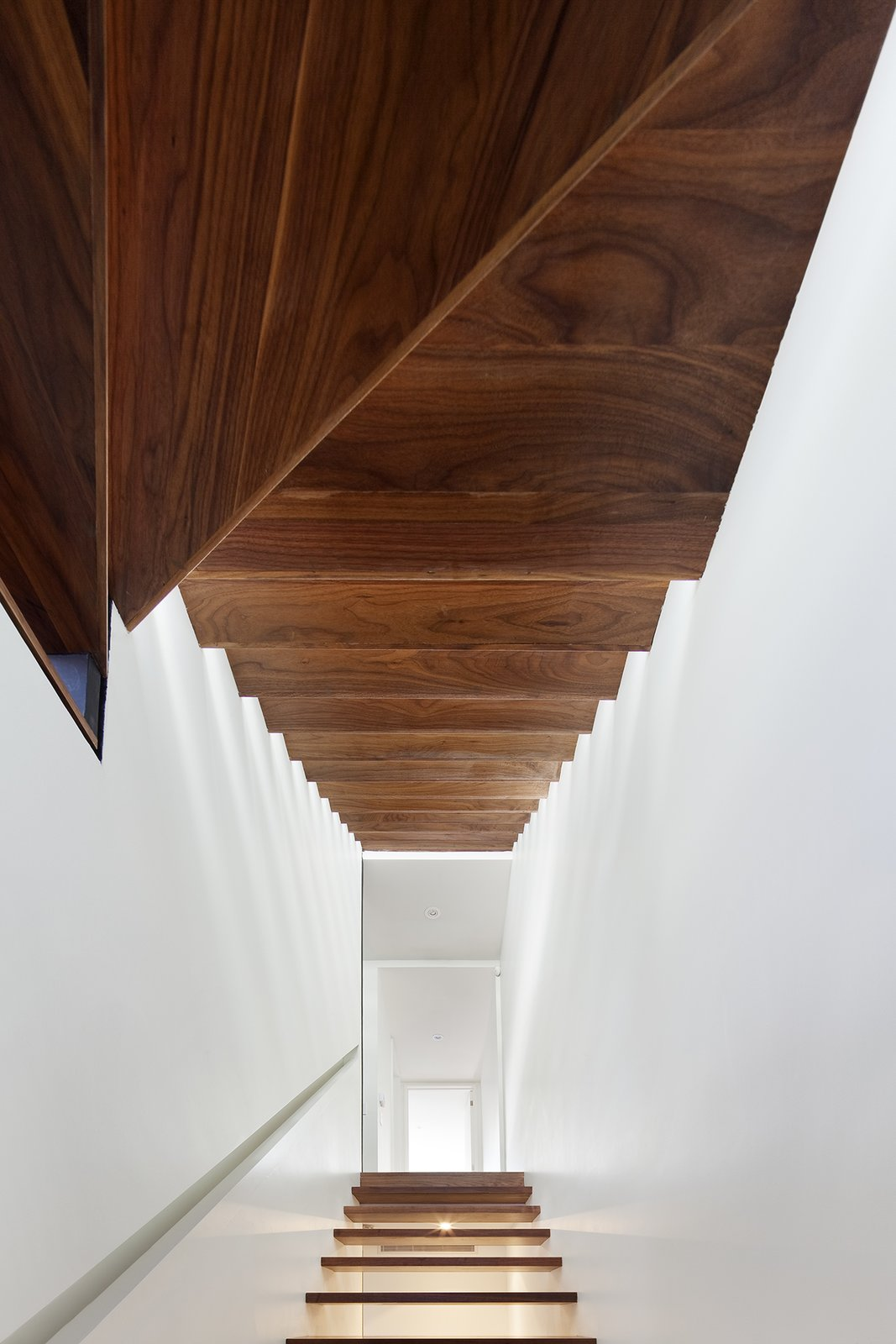 """Staircase and Wood Tread """"The original stairs were not lined up vertically, which took up much of the internal space,"""" Dubbeldam explains. The architect replaced them with black walnut wood risers that seem to float from the basement to the third floor, allowing light to spill into the house's once-dark interior.  190+ Best Modern Staircase Ideas"""