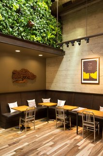 """A living wall designed in collaboration with David Brenner of Habitat Horticulture introduces greenery into the cafe. """"It makes you feel like you're in a courtyard,"""" Williams says. """"It helps with acoustics and plays with something soft that's not with the rest of the kit of parts."""" Emeco's iconic Navy chairs punctuate the interior. """"We tried to select objects that are beautiful and functional,"""" Williams says. His team looked at we looked at hundreds of chairs and were searching for a design that would work well with the overall look of the cafe but also stand out. The floor is reclaimed oak."""