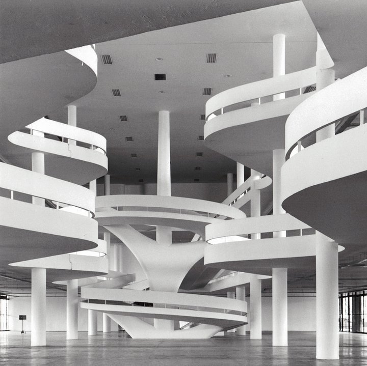 Ciccillo Matarazzo Pavilion  Sao Paulo, Brazil (1957)  Named after an Italian-Brazilian industrialist, this series of gently curving walkways serves as the site of an art biennial, the first ever in the southern hemisphere.  Photo 3 of 10 in Design Icon: Oscar Niemeyer