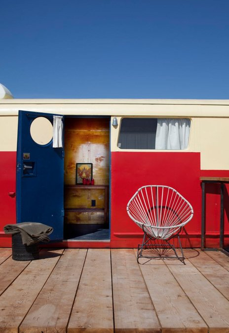 Exterior, Camper Building Type, and Metal Siding Material This stylized vintage trailer is the image of small-scale luxury.  El Cosmico from Hotels We Love: El Cosmico Hotel in Marfa, Texas