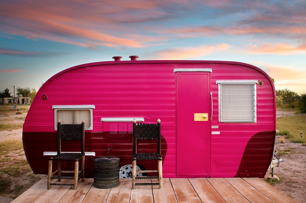 Exterior, Metal Siding Material, and Camper Building Type An innovative splash of color carries this trailer into compatibility with the pink clouds striating the horizon.  Best Photos from Hotels We Love: El Cosmico Hotel in Marfa, Texas