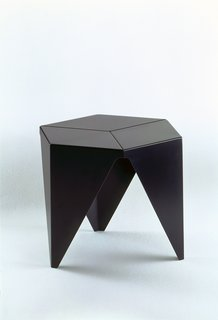 Prismatic Table (1957)A crisp, geometric departure from his standard suite of organic forms, Noguchi's Prismatic Table takes inspiration from origami, resembling a child's fortune teller cast in aluminum and turned on its head. It came from a commission by Aluminum Company of America (Alcoa). Photo courtesy of The Noguchi Museum, New York.