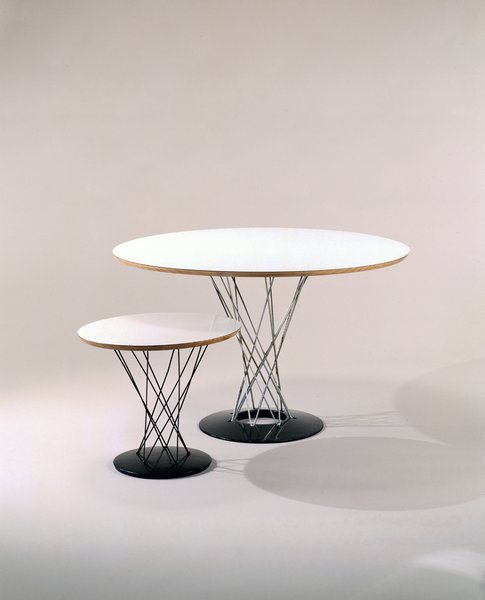 Cyclone Table (1954)Hans Knoll saw this playful design, initially meant as a stool, and immediately recast it as a chair and set it up with the Bertoia Wire Chair. The eye of the storm is formed with a cylindrical group of metal rods. Photo courtesy of The Noguchi Museum, New York.