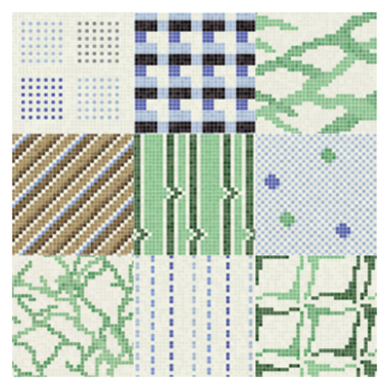 These cool pixelated patterns from Trend USA's FEEL collection, featuring tile mosaics made from post-consumer recycled materials. In addition to the six shown here, there are 22 more motifs that will work on walls and floors throughout your home.