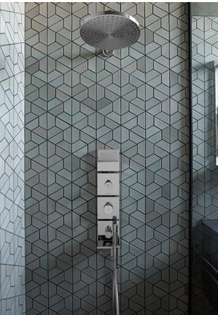 Half Hex Mix (shown here in fog) is part of Heath Ceramics' Dwell Pattern collection, produced with the help of Dwell's design team.  Eco-Friendly Tile Designs for Spring by Jacqueline Leahy