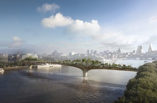 """Garden BridgeUnlike a pricey ride to the top of the Shard, London's tallest building, visitors to Heatherwick's proposed Garden Bridge would be able to take their time across the slowest bridge in the city. Rather than yet another skyward blue construction, this is a horizontal green one: a pedestrian garden-cum-bridge across the Thames.  """"It mustn't feel like we went to the bridge shop,"""" Heatherwick says. """"The hero of a garden bridge must be the garden."""" Trees will be planted near the load-bearing columns.  Heatherwick credits the idea to his friend, actor Joanna Lumley (of AbFab fame), and its public appeal to the proven success of New York's High Line. Funding for the £150,000,000 ($250,000,000) project is to come from private donors; Heatherwick says that they're nearing the two-thirds mark and hopes that all London lovers will donate, be it a penny or a pound. Visit   gardenbridgetrust.org to learn more.  Photo courtesy: Arup."""