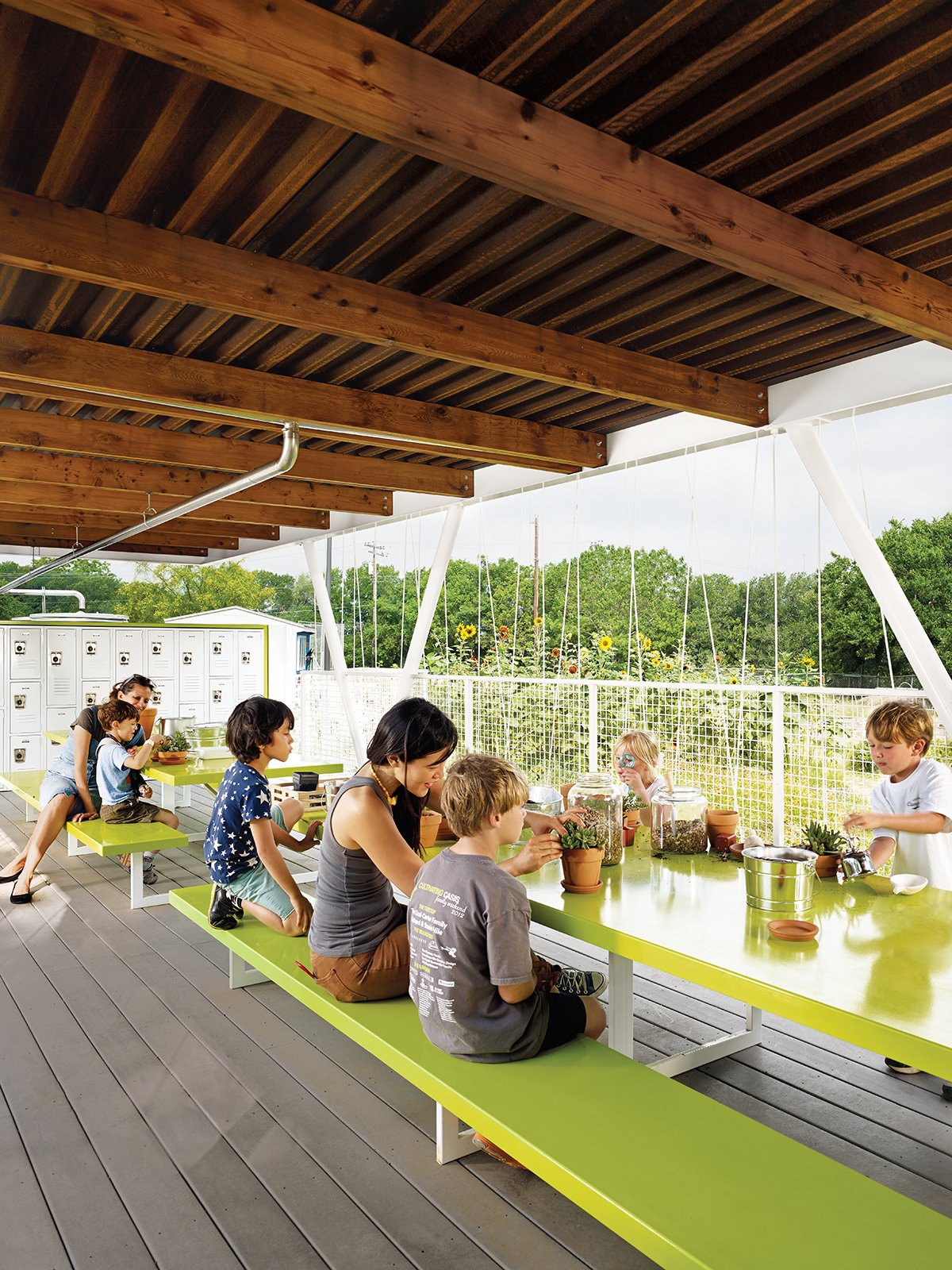 Architect Burton Baldridge donated his services to Casis Elementary—his daughter's large public school in Austin, Texas—to design and build an outdoor classroom that would augment an organic gardening program.  Photo 1 of 5 in Austin's Casis Elementary School Teaching Garden