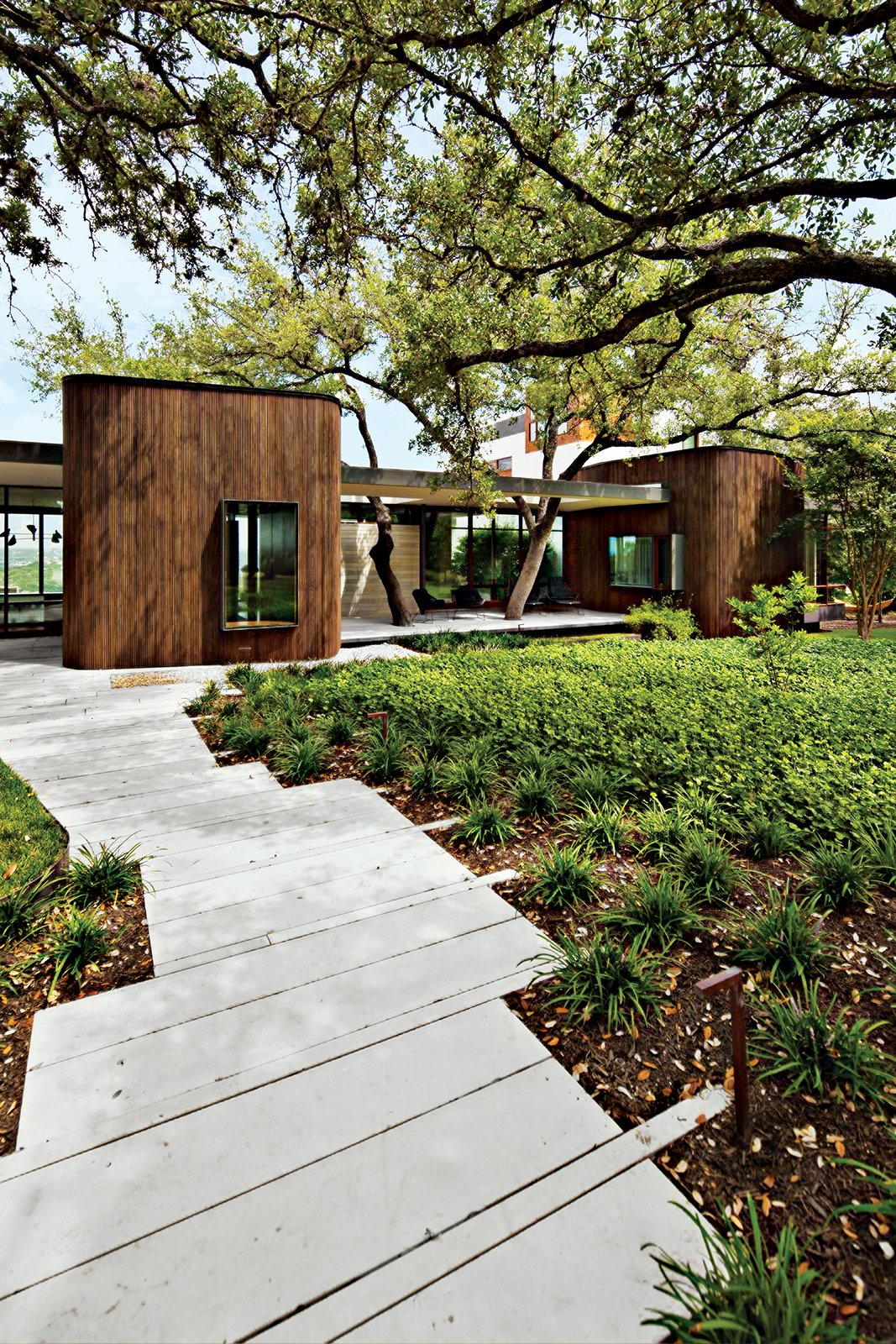 """Outdoor, Rooftop, Shrubs, Trees, Hardscapes, and Gardens South: Mark Word Design  The garden Mark Word Design created for an Austin, Texas, home sited adjacent to a nature reserve puts water conservation first. """"It's about usage levels, but it's also about the way we treat storm water and runoff, since it all goes back into our supply at the end of the cycle,"""" designer Sarah Carr says. Word and his team kept the ratio of paved to unpaved surfaces low and chose plants that help reduce erosion, require little irrigation, and allow storm water to percolate.  Photo 2 of 12 in 5 Reasons Why Landscaping and Bringing Plants Into Your Home Is So Valuable from Landscape Design for All Climates"""