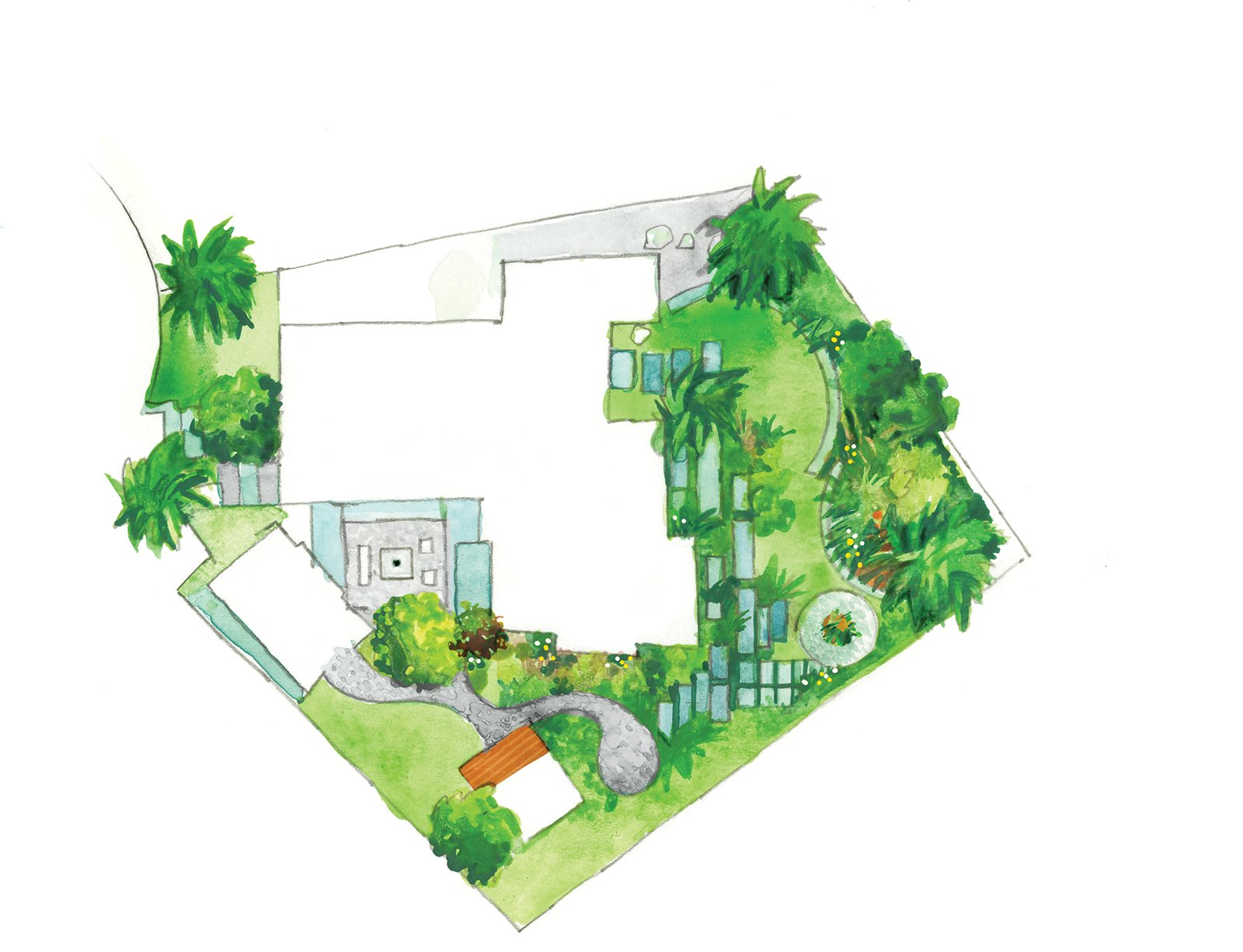 """""""Eichlers aren't very big—that's why so much emphasis was on the outside. The house had to look like it extended out."""" —Bernard Trainor, landscape designer  Photo 6 of 9 in Creative Landscape Design for a Renovated Eichler in California"""