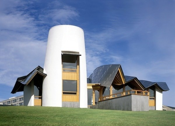 Maggie's Dundee exterior. Architect: Frank Gehry. Pic © Raf Makda, August 2003.  Photo 1 of 14 in Maggie's Centres: A Blueprint for Cancer Care