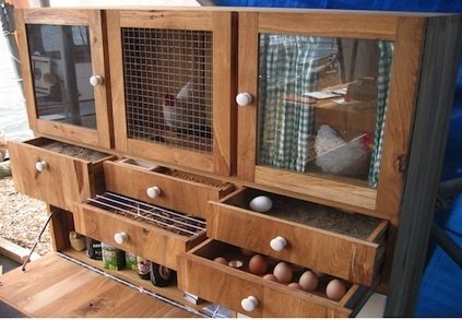 """The epitome of a statement piece, Dutch designer Ton Matton's oak Chicken Cabinet has received raves for its compact design, all while slyly poking fun at European Union laws about what qualifies as a free-range chicken.  Search """"ton chair 77"""" from A Dutch Designer's Modern Chicken Coop"""