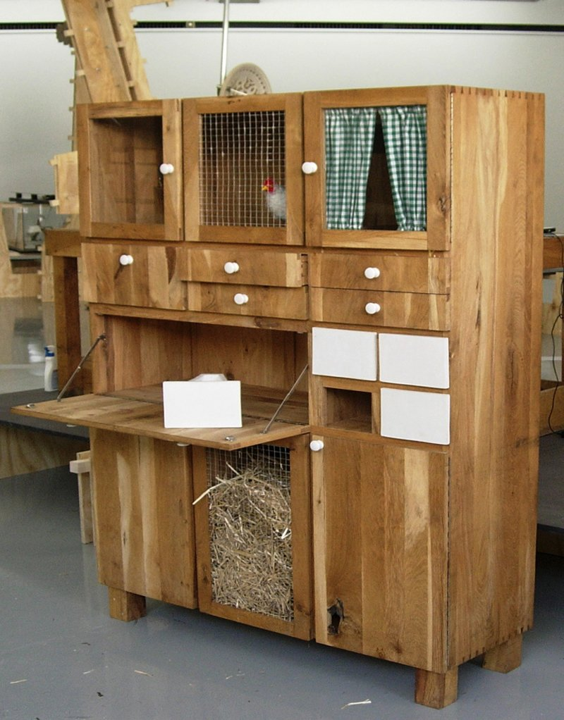"""""""The German countryside is paradise,"""" Matton says. """"It's very empty. Wendorf is a small village where you can't buy anything, so it gives you the chance to concentrate and not be a consumer all the time.""""  Search """"ton chair 77"""" from A Dutch Designer's Modern Chicken Coop"""