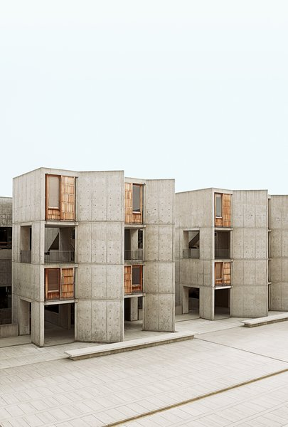 Louis Kahn's Salk Institute (top left) is a stunning building that looks directly out to the sea. Architectural tourists flock to the site, which still functions as a working laboratory.  buildings from San Diego, CA