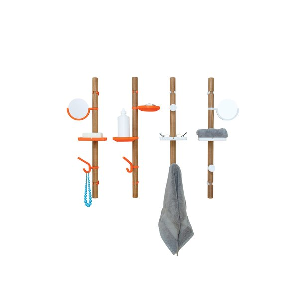 Add a splash of style to your walls with this configurable wood valet Clip Tree, kitted out with clip-on rubber hooks, shelves, and widgets. Perfect for holding a variety of your bathing room necessities.