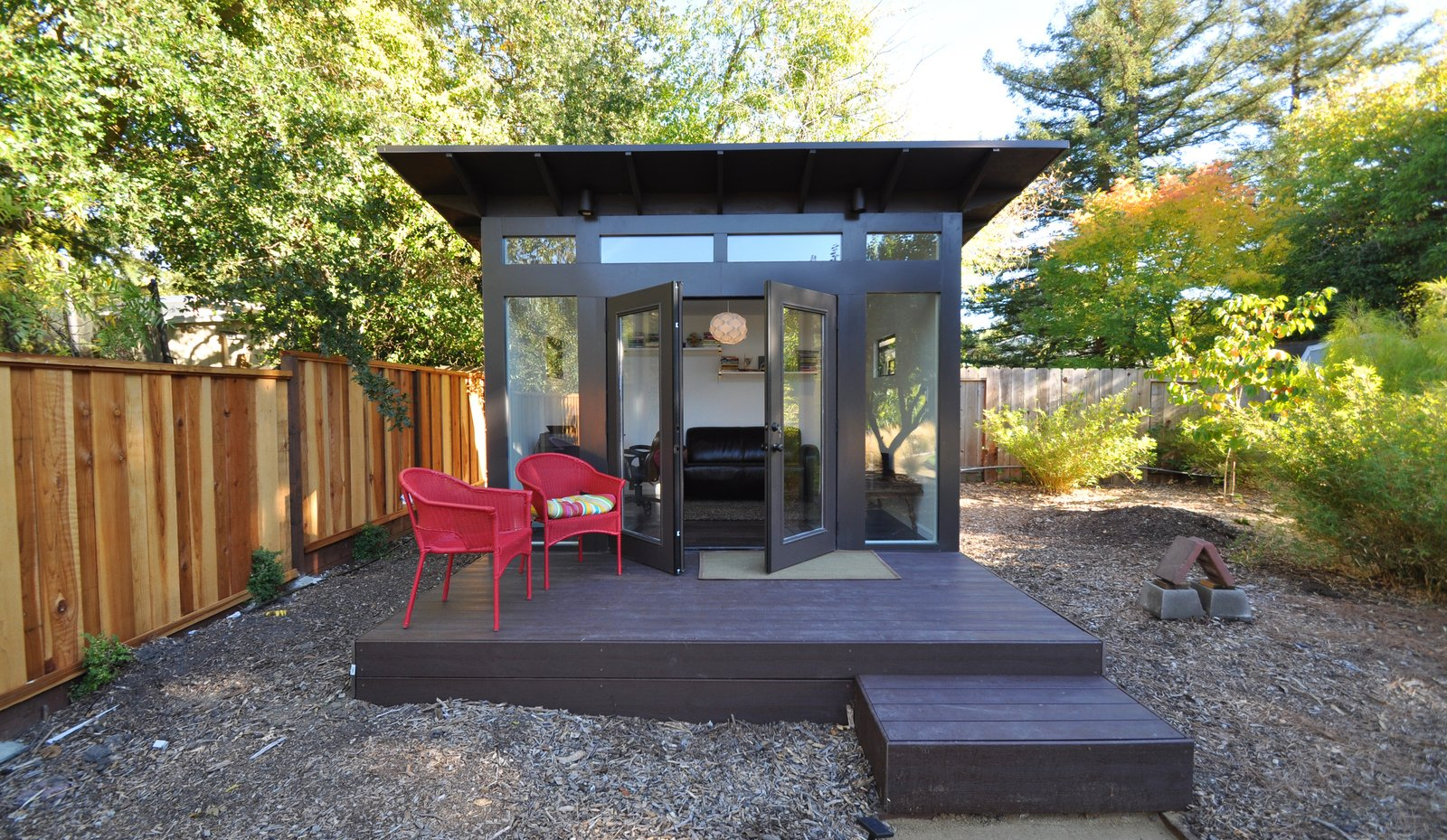 Each shed is customizable via a recently launched interactive online tool and range from $120-150 per square foot. With more people working from home, backyard offices offer a physical barrier between life and work, this one in Walnut Creek, California, has a FullLite glass front elevation.  Office