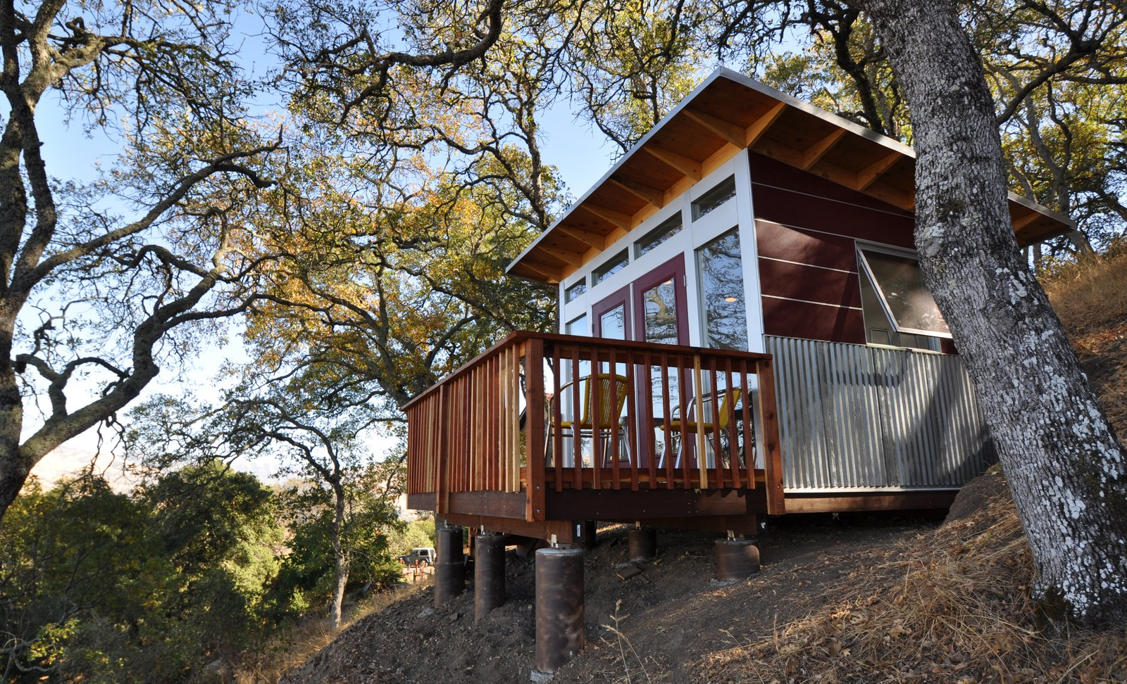 """When homeowners of an off-the-grid property in the Bay Area needed to add a home office, they added a custom deck to their Studio Shed to take advantage of the landscape.  Search """"shed-&-studio"""" from Sheds"""