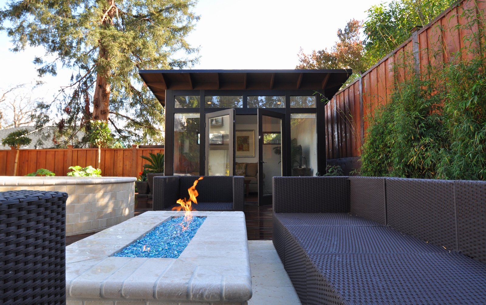 """Insulated with denim and highly sealed, the sheds can also double as an outdoor room, like this outdoor living room in Palo Alto, California.  Search """"shed-&-studio"""" from Sheds"""