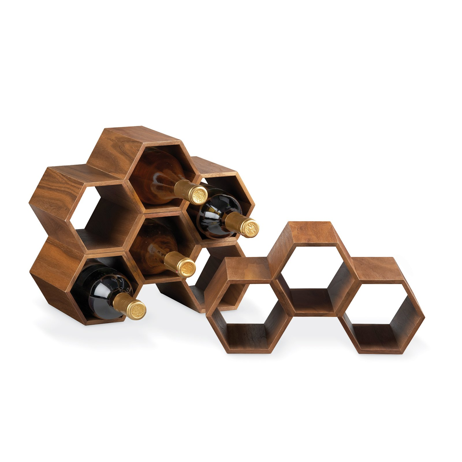 Hexa Stacking Wine Rack  This modular counter top wine storage unit is made of walnut veneer and, like a beehive, can pack a multitude of storage nooks into a small space.  Essentials for the Modern Bar by Jacqueline Leahy