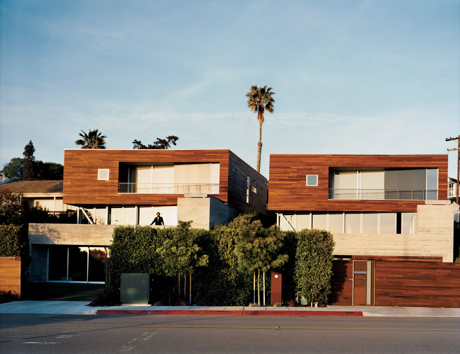 "Exterior, House Building Type, and Wood Siding Material Twin houses face off in La Jolla across wide-open walls and decking. The design held such appeal that the architect claimed one 2inn for himself.  Search ""five open decks"" from Double the Pleasure"