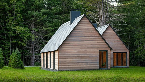 Architects Joan Soranno and John Cook of HGA developed five site-specific cabins that tread lightly on the land at Marlboro College in rural Vermont. These deceptively simple structures update the regional vernacular. Every year, Marlboro College hosts the Marlboro Music Festival in which classical musicians join together to hone their craft.  These cabins help support the musicians that live, work, and rehearse together.