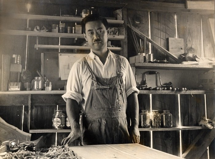 "5. George Nakashima in his workshop  Search ""george-smart.html"" from Design Icon: George Nakashima"