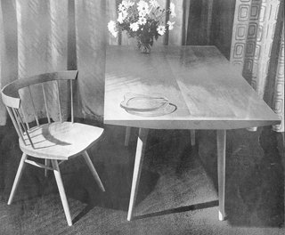 """Another original Knoll design from 1946, the Straight Chair is Nakashima's spin on the standard Windsor, incorporating traditional techniques, Nakashima sometimes called himself a """"Japanese Shaker,"""" in reference to his fusion of classic, Modernist, and Shaker styles."""