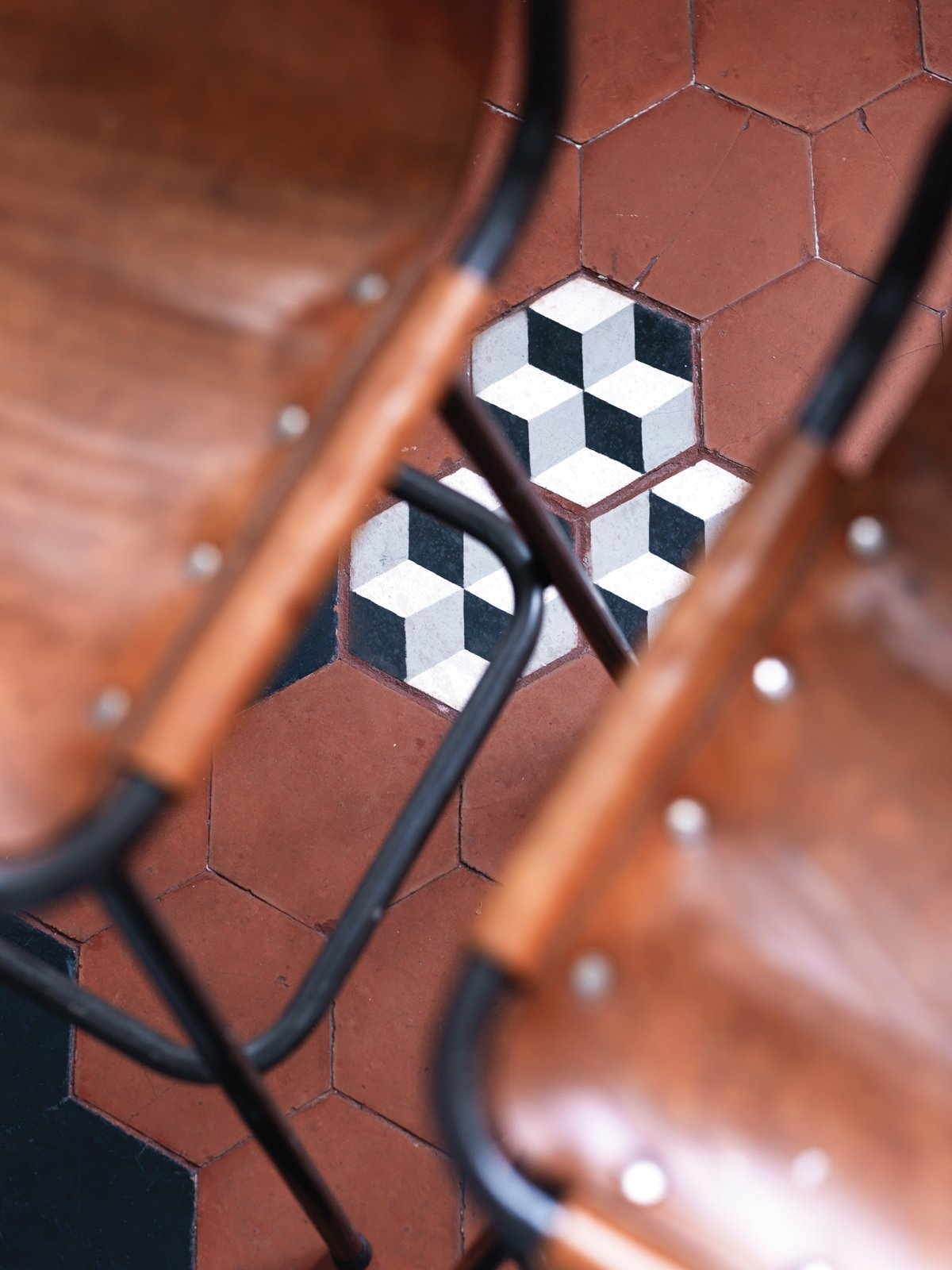 Aumas added a few new cement tiles to shore up the kitchen floor.  Photo 12 of 12 in A Furniture Collector's Renovated Flat in Paris