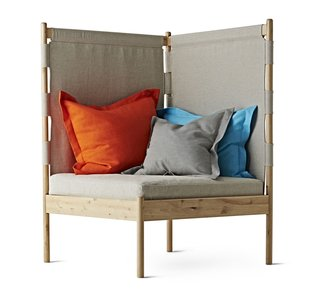 "Ebba Strandmark's delightful corner easy chair (price TBD) will be available in August 2014. Ideal for small spaces, it ""embraces you like an armchair and gives you the comfort of a sofa. Somewhere to snuggle into that uses an otherwise wasted corner."""