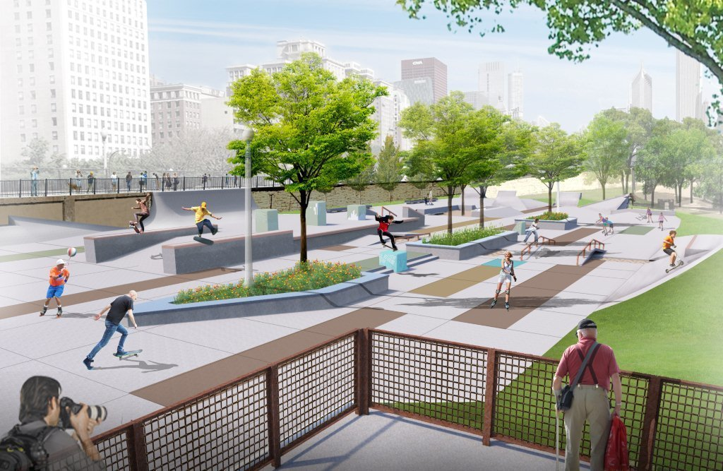 Chicago Skate and Wheel Park  When it's finished later this year, the proposed three-acre, plaza-style skate and wheel park at Roosevelt, near the south end of Grant Park, will feature an array of design elements reflecting both the needs of skaters and BMX bikers and the history of the site.  Photo 1 of 4 in Chicago Crowdsources a Skate Park