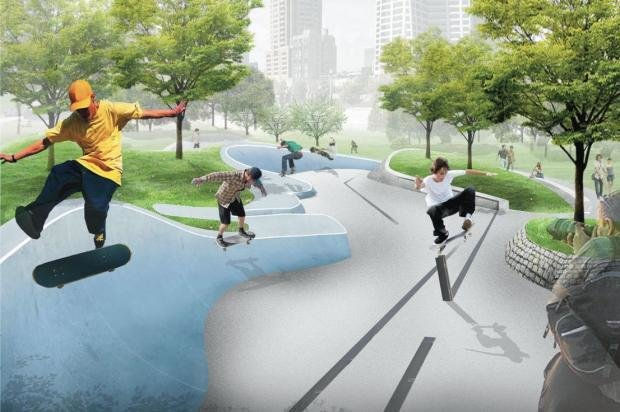 Chicago Skate and Wheel Park  Set to be built on the site of the now demolished Central Station, a nine-story building and clock tower constructed for the 1893 Columbian Exposition, the skate park plans by Altamanu Architects call for a structure resembling a train platform, with a pedestrian bridge overlooking the park. Limestone pieces left over from the towering station will be incorporated into the design. O'Neill wants to add railroad rails for skaters to use, as well as skateable sculptures and railroad ties.  Photo 2 of 4 in Chicago Crowdsources a Skate Park