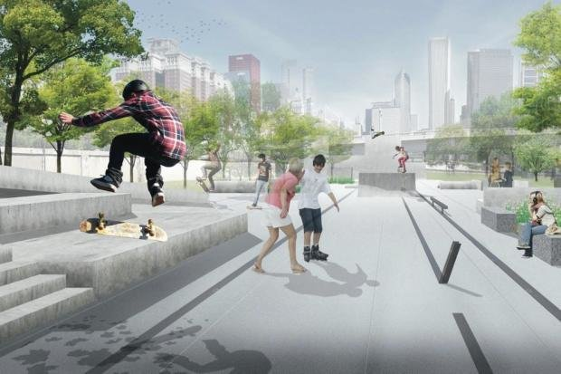 """Chicago Skate and Wheel Park  While the Chicago Park District Board just approved the plan last week, there's still a lot of work to be done on the estimated $2.5 million project (a deadline to utilize money from a TIF, or tax increment finance district, means the project has to be built this year). It's been a long time in the making, according to Alan Butella, owner of local skateboarding company Character and one of the community representatives who's worked with O'Neill.  """"It's the biggest project for skating the city has taken on,"""" he says. """"It's been a big pipe dream to build this park.""""  Photo 3 of 4 in Chicago Crowdsources a Skate Park"""
