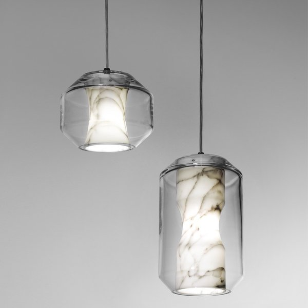 Lee Broom's marble and crystal Chamber Lights (from $1,395) are meant to be clustered in groups.