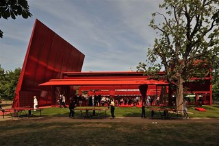 "2010: Jean Nouvel  The French's architect's non-so-subtle contribution to Serpentine featuring striking, cantilevered walls of red steel, and one of the more colorful table tennis tables we've seen in awhile. He told The Guardian it was inspired by the moment ""when the summer sun catches you full in the eyes and, as you blink, the world dissolves into red."""