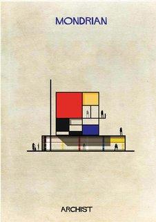 Minimalist Dutch artist Piet Mondrian's imagined house, from Federico Babina's Archist series.
