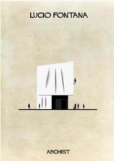 Spatialist artist and sculptor Lucio Fontana's imagined house, from Federico Babina's Archist series.
